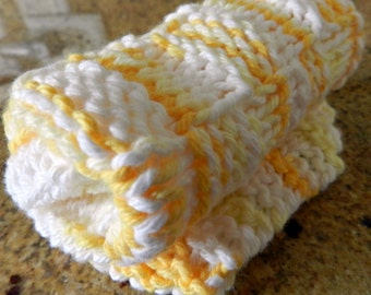 Cotton Washcloth, White and Yellow Hand Knit Spa Wash Cloth