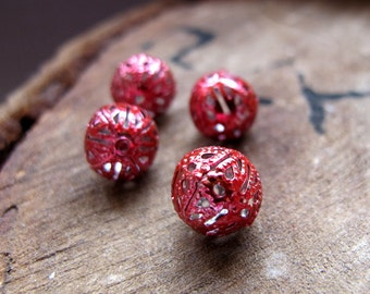 Bauble Beads 10mm. Red Enameled Filigree Beads. Hollow Beads. Handmade Beading Supplies. Red Balls. Filigree Balls.Filigree Findings.Colored