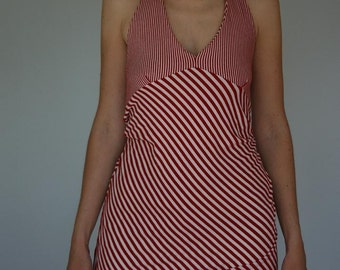 Red White Stripe Halter Top Nautical Peplum Tank Open Back Tunic Medium