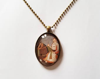 Maharaja riding, 30x40mm oval pendant in silver or antique bronze, includes complimentary chain