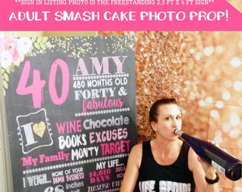 Adult smash cake Photo prop - Any Age!  Funny Birthday Personalized Chalkboard Sign -digital file-Forty and Fabulous - (Chalk-AdultFloral)