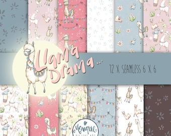 Llama Digital Paper, Seamless Pattern, Cute Llama,Alpaca,Llama digital pattern,Illustration,Baby Shower,Birthday Invitation,Planner paper