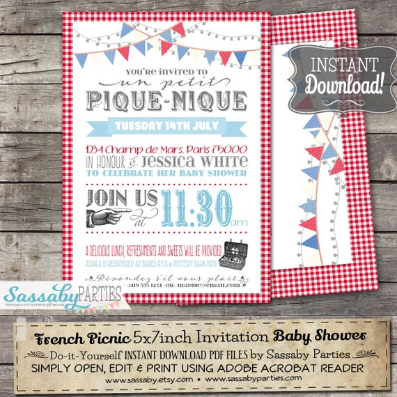 French picnic invitation instant download editable french picnic invitation instant download editable printable baby shower bridal or birthday invitation by sassaby solutioingenieria Choice Image