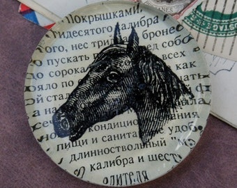 Russian Horse Head Glass Paperweight