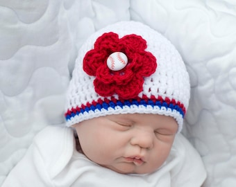 BASEBALL BABY GIRL Crochet Baseball Diaper Cover Baby Girl Clothes, Coming Home Outfit, Baby Baseball Hat, Baby Girl Hats, Red White Blue