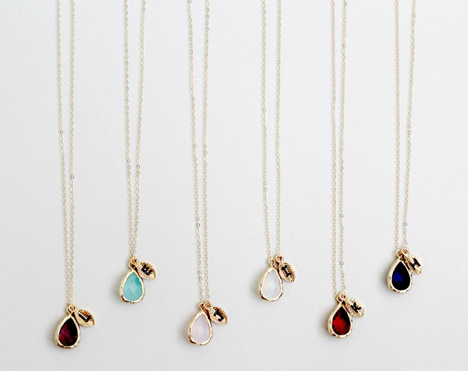 Bridesmaid Necklaces with Initials, Gold Filled Necklaces, Birthstone Necklace, Customized Jewelry