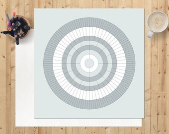 Family tree chart, Father's day gift, blank 8 generation circular ancestry digital download, printable, ready to personalise, misty grey