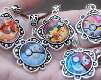 Pokemon Inspired Pokeball Pendants; Charmander Charizard Jolteon Squirtle Dratini