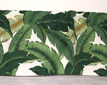 Curtain Valance 54' X 16' Unlined, Custom Made Window Treatment, Swaying Palms Indoor Outdoor Valance, Kitchen Window Curtain, Banana Leaf