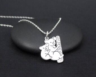 Koala Necklace Sterling Silver Mom and Baby Koalas Necklace, Koala Jewelry