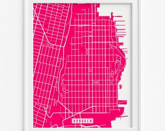 Hoboken Print, New Jersey Poster, Hoboken Poster, Hoboken Map, New Jersey Print, New Jersey Map, Hudson County, Street Map, Fathers Day