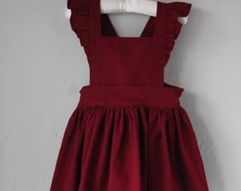 Cranberry/ Burgundy Pinafore Dress Made to Order