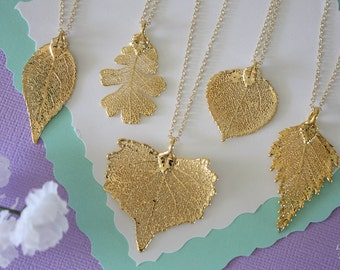 6 Bridesmaid Necklaces, Bridesmaid Gift, Real Leaf Necklaces, Real Leaves, Dipped Leaf, Bridal Gift, Party Gift, Gold Leaf