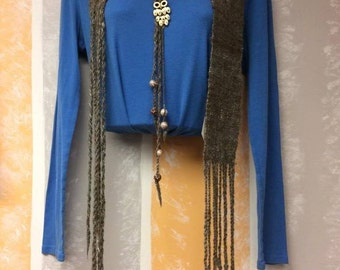 Make a statement, Alpaca Handwoven Scarf with Owl and beads