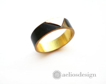 Geometric Ring Recycled Sterling Silver & Black Bronze