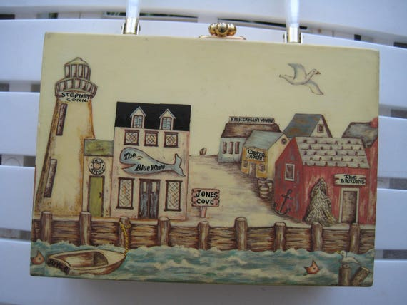 Charming Sea Port Scene Wood Box Bag