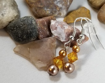 Yellow Pearl and Crystal Earrings