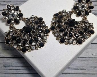 Onyx Vintage Earrings, Vintage Earrings, Wedding Earrings, Dangle EarringsStatement Earrings, Prom Earrings, Wedding Earrings