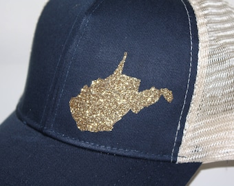 West Virginia 'Sparkly State' HankHat - FREE SHIPPING - Gold West Virginia Trucker Hat - Eco Friendly Materials