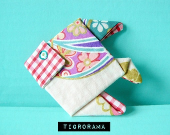 fabric brooch Japanese origami fish red, purple and pink gingham
