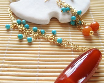 "21"" Red Orange Agate and Turquoise Necklace and earrting set"