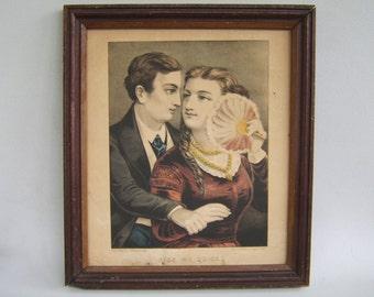 Vintage Antique Framed Lithograph Kiss Me Quick Currier & Ives 1800's