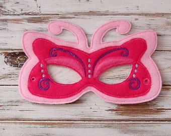 Butterfly Mask - Felt - Kids Mask - Costume - Imaginary play - Dress Up - Party Favor