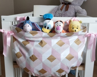 Pack with toys and pajamas, satin ribbon and cotton canvas