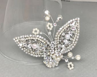 Rhinestone & Pearl Bridal Comb- Wedding Hair Comb- Swarovski Crystal Hairpiece-CZ Bridal Comb-Bridal Hair Accessories- Hand Made Bridal Comb