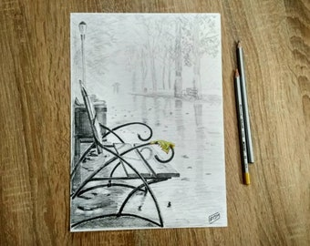 Autumn rain in the park Original Handmade Graphite pencil Drawing bench and yellow leaf city landscape fine art A4 size drawing