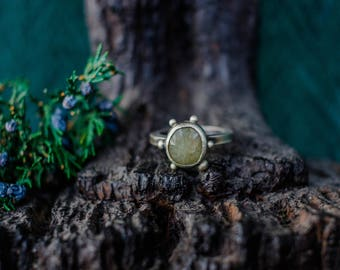 Rings, Boho Jewelry, Boho Ring, Sapphire Silver Ring, Silversmith Ring, Rose Cut Sapphire Ring, Natural Gemstone Ring, Raw Stone ring