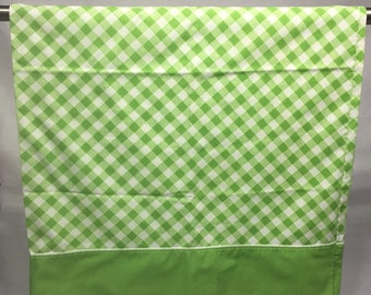 Vintage, pillowcase, checkered, standard, green and white, white  and  green trim, retro, bedding, linens, fabric, vintage pillowcase,
