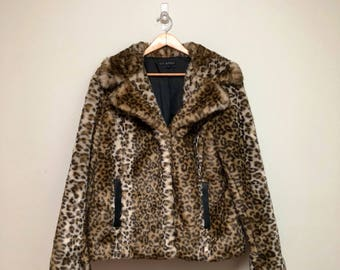 Vintage 90s Leopard Coat // Faux Fur Swing Coat // 60s Style Coat