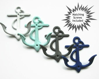 Anchor Double Wall Hook + Matching Screws, Nautical Style, 21 Colors Available, Coastal Beach House Decor, Hooks and Fixtures, Gift for Guys