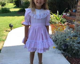 Vintage Lace and Ruffle Pink Circle Skirt Dress 5T