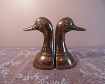 Antique Brass Duck Head Bookends Retro Antique Home Office Decor Hunting Decor Masculine Home Decorating