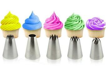 5pcs Large Pastry Tips Cake Decorating Tools Set Cream Nozzle Icing Piping Bakeware Sugarcraft
