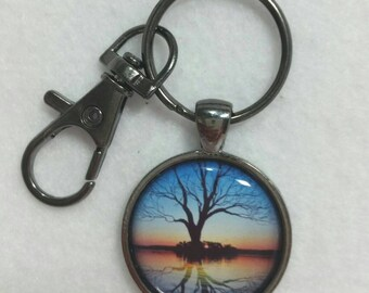 Tree Water Reflections  Keychain Family Tree of Life Keyring Ring with Lobster Claw Gift Idea Free Shipping