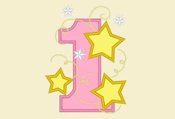 One Stars Applique Embroidery Design One Birthday Embroidery