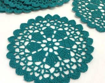 Green crochet doily set/Cotton coasters/Cup mats/Candle mat/Crochet teacup coasters/Coffee cup coaster/Round crochet doily/Flower mug rug
