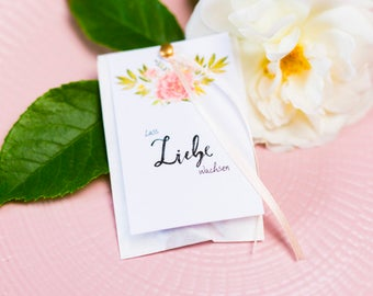 25 Cards for flower bags-let love grow