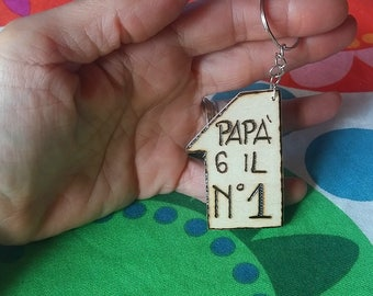 Wooden Keychain for Dad number one