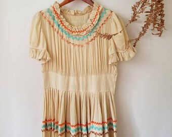 Vintage Sheer Cream Tiered Lace Dress