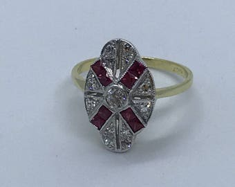 Vintage old cut diamond and ruby ring