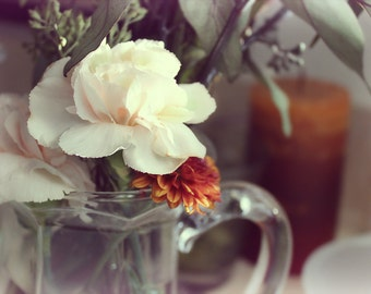 Floral Photography - Carnations - 8x10, Color, Flower Photography, Carnations in a Pitcher, Vintage, Shabby Chic, Soft Dreamy Photo, Buttery