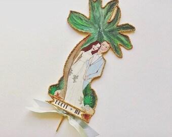 Palm Tree Wedding Cake Topper, Portrait Cake Topper, Beach Wedding, Personalized, Custom Illustrated