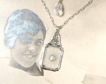 ANTIQUE 1920 Art Nouveau Camphor Glass Necklace, Deco Silver Pave Rhinestone Bridal Pendant Necklace,Downton Gatsby Vintage Wedding Jewelry