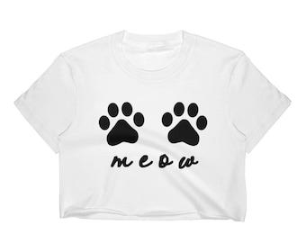 Cat Crop Top, Meow Crop Top, Cat Lover Gift, Cat Paw Crop Top, Cat Paw Shirt, Cat Lover Shirt, Meow Shirt, Cat Shirt, Cat Lady Crop Top