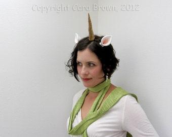 Unicorn Horn Costume Headband with ears Halloween or Festival handmade polymer clay gold