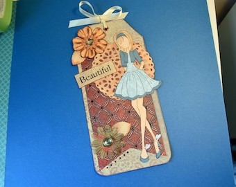 Beautiful Prima Doll Tag, Handmade Gift, use as a bookmark, room decoration, in blue, orange and brown